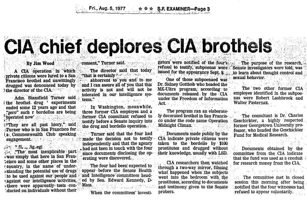CIA ran brothels in San Francisco and other cities and dosed the johns with LSD as part of its MKULTRA program https://t.co/r2XxEn9UQ0