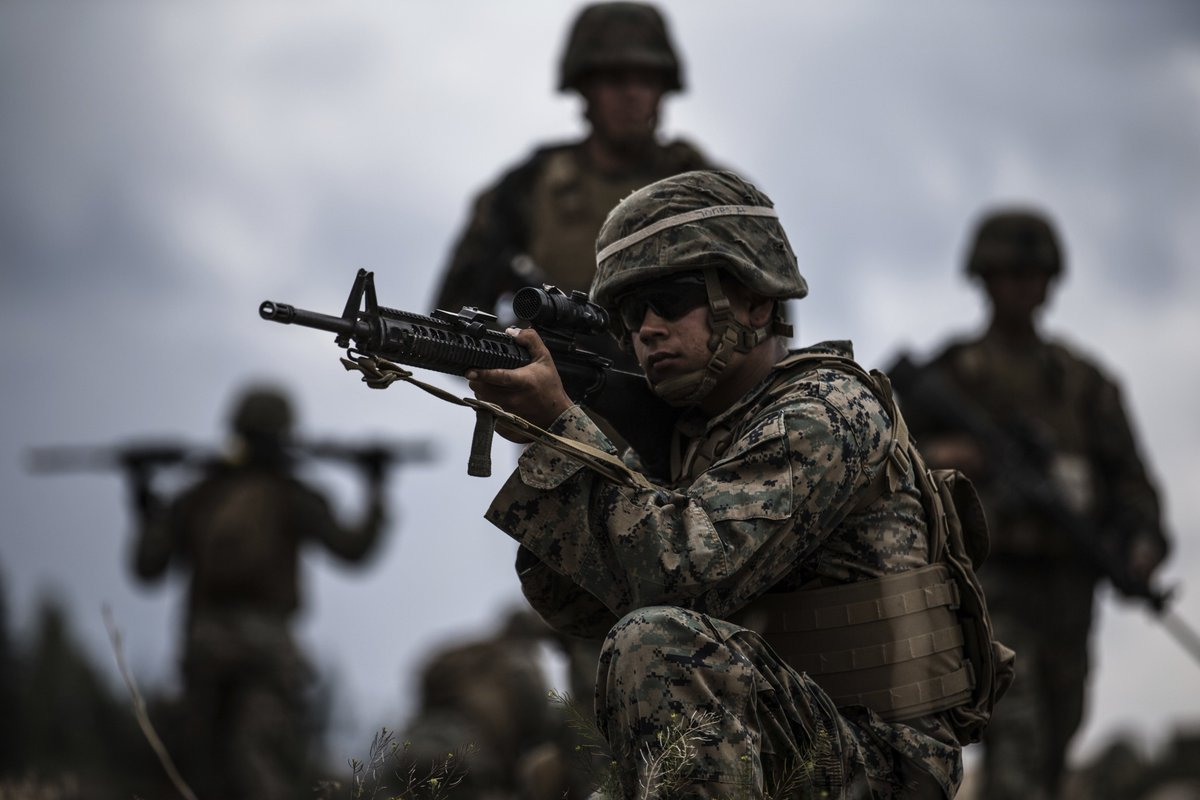 U.S. Marines preparing for deployment train for mountain warfare at Bridgeport, California