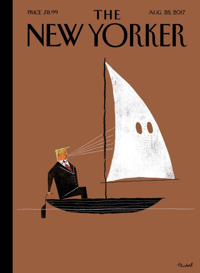 Post-Charlottesville covers of The Economist, The New Yorker and TIME.