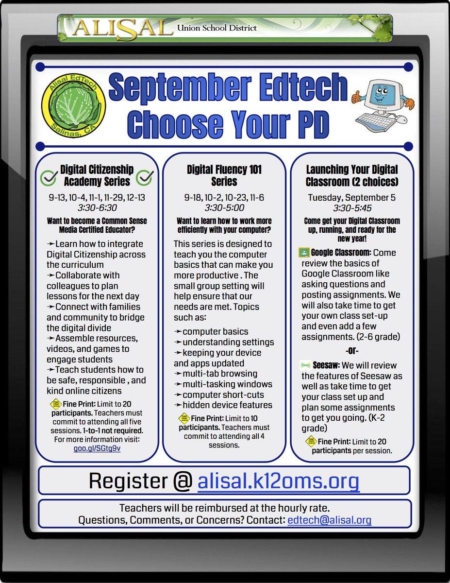 Get ready for the launch of this years #alisalstrong #edtech PD  https:// alisal.k12oms.org  &nbsp;   @cogswell_ben @NewImpulse @EdTechSpec #alisalfuerte<br>http://pic.twitter.com/SNVOWxR8L2