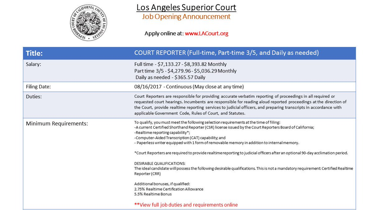 La Superior Court Hr On Twitter Now Hiring Court Reporters Full