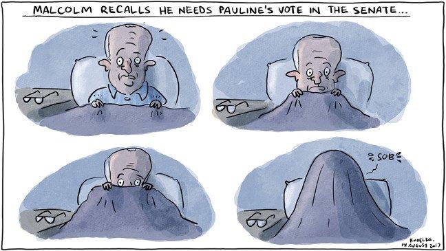 Malcolm recalls he needs @PaulineHansonOz's vote in the Senate. @jonkudelka's cartoon today: https://t.co/TtYlKqey1d https://t.co/SXwYJw2La1