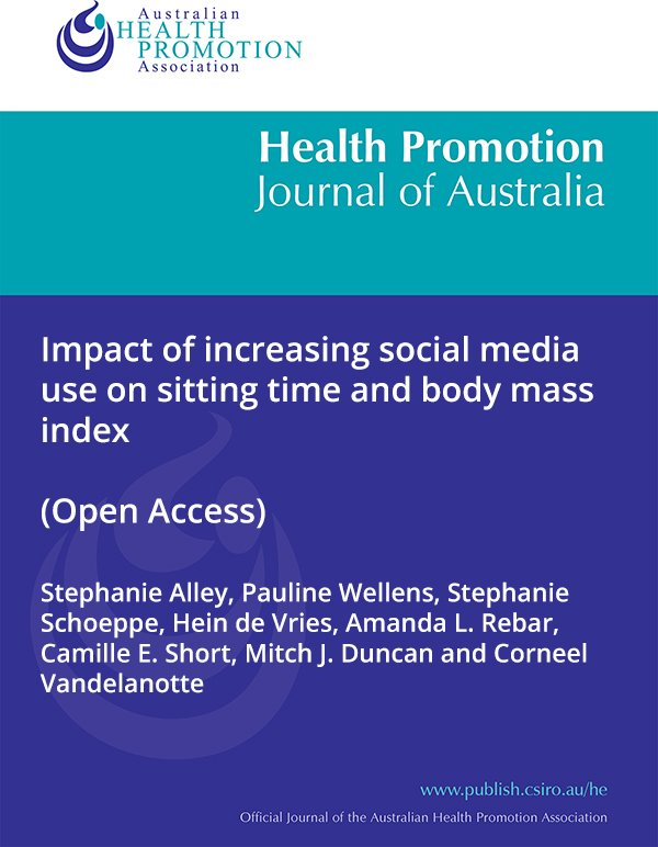 Impact of increasing social media use on sitting time and body mass index @HealthProm_J_Au #OA  http://www. publish.csiro.au/HE/HE16026  &nbsp;  <br>http://pic.twitter.com/NZ8S3KfanC