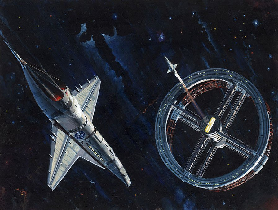 Peter Elson cover art for a 1976 edition of &quot;2001: A Space Odyssey&quot; by Arthur C. Clarke. #scifi #space <br>http://pic.twitter.com/0zyuk6bs4z