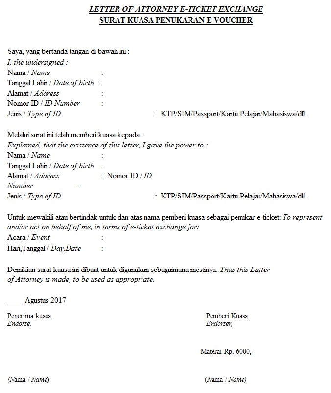 Yes24 Indonesia On Twitter Ini Contoh Surat Kuasa Yang Bisa