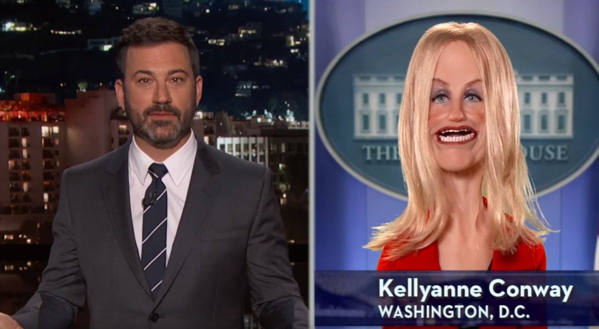 Jimmy Kimmel interviewed 'Kellyanne Conway' about Trump's dumpster fire of a press conference https://t.co/LxNnNSOZVd