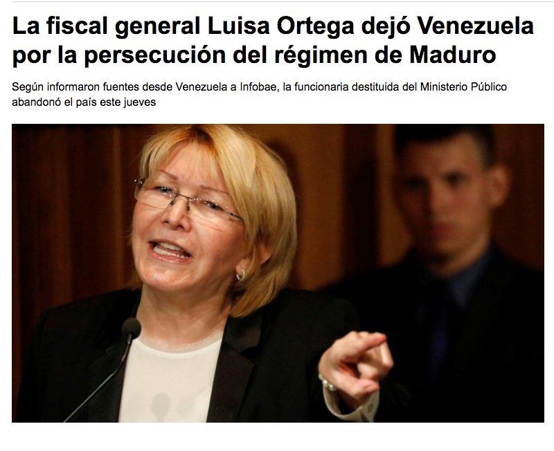 Según el portal Infobae la Fiscal Luisa Ortega Díaz se habría ido hoy...
