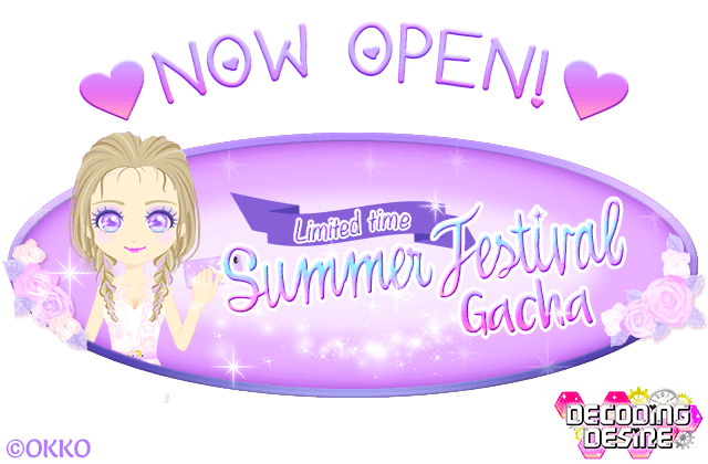[Decoding Desire] Our Limited &quot;Summer Festival&quot; Gacha is now OPEN! #OKKO #Otome #Otomegame #Datinggame #Datingsim<br>http://pic.twitter.com/mekxygSWRN