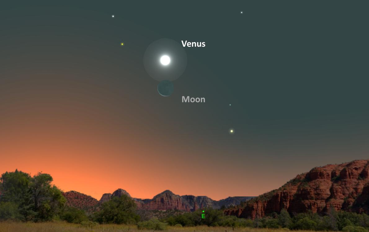 PASS IT ON: Planet Venus will appear above the crescent Moon this Saturday morning in the east sky an hour before sunrise! #Space <br>http://pic.twitter.com/FSCubUmiRF