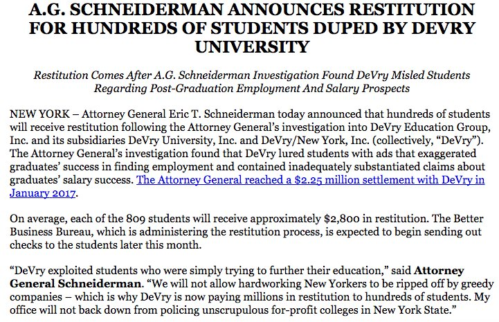 Good news: 809 NY students misled and ripped off by DeVry University w...
