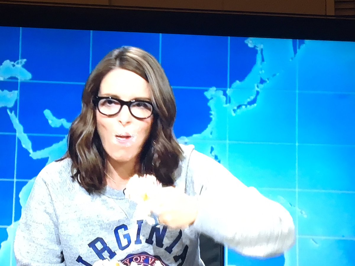 Tina Fey Delivered an Epic Anti-Trump Speech While Binge Eating Sheet Cake on 'Weekend Update'