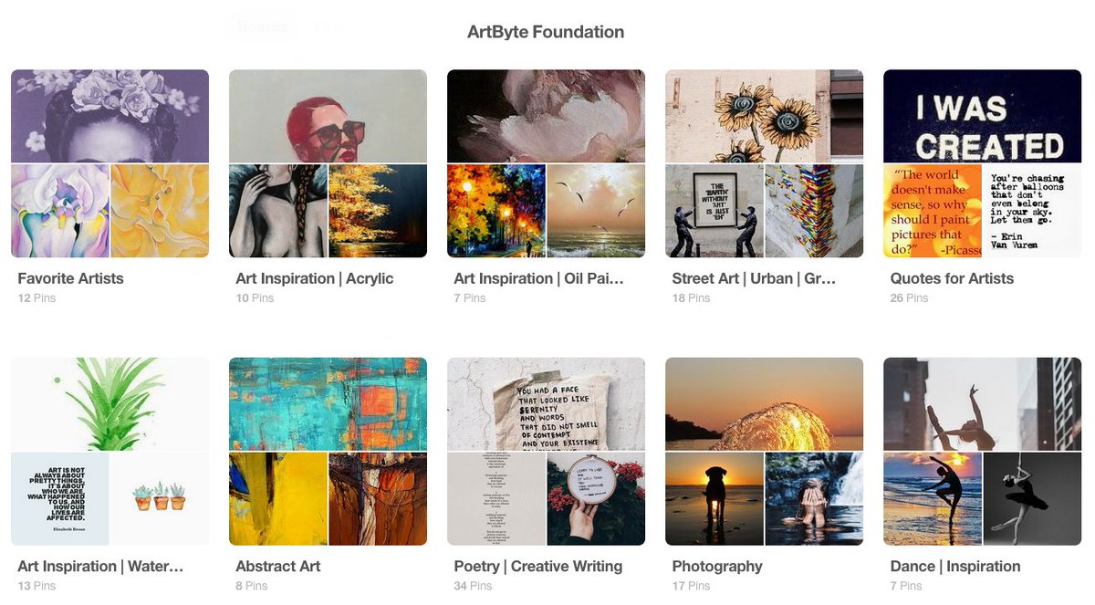 #Artists of all types are featured on #ArtByte's new #Pinterest account! Join us:  https://www. pinterest.com/artbyte/  &nbsp;   #art #music #dance #writers<br>http://pic.twitter.com/6u3aDIouY4