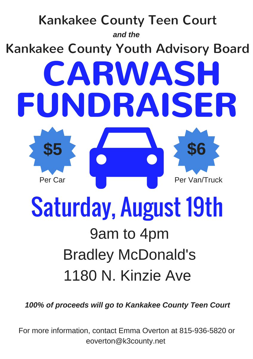 Two days until the carwash! We hope to see you this Saturday from 9am to 4pm at the Bradley McDonalds. #kankakee #bradley #teencourtpic.twitter.com/TtiY025cXf