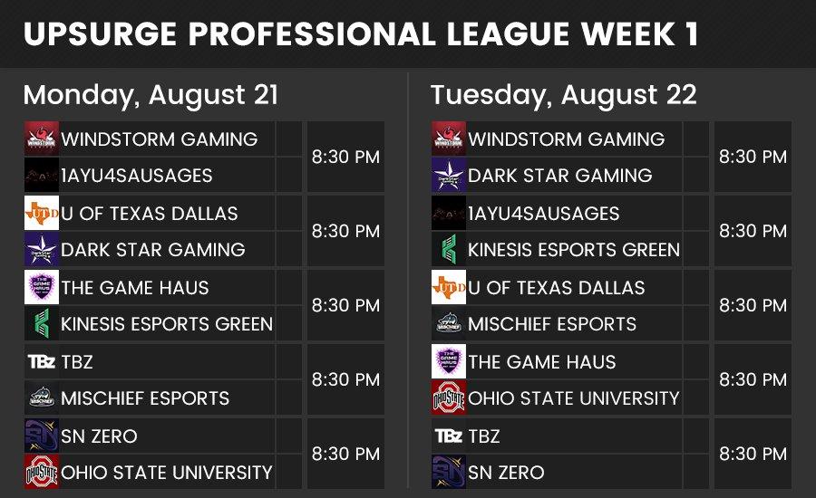 🌊Upsurge Professional League Week 1 Schedule🌊 https://t.co/IcKZDFvcUj