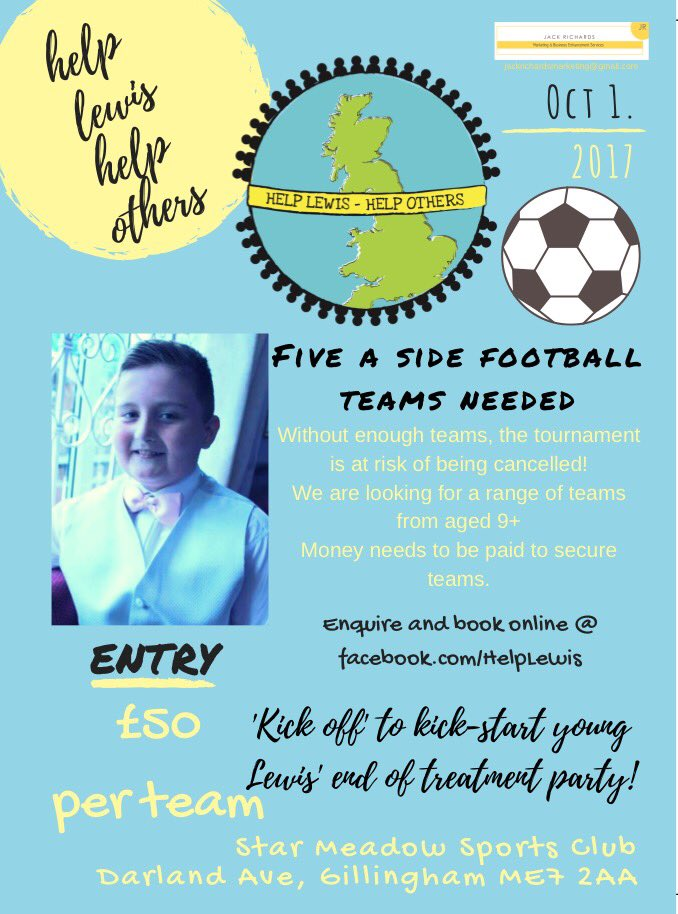 Calling on the #footballfamily in areas of Kent to make this happen. More teams are needed to make it work for young Lewis. #cancersurvivor <br>http://pic.twitter.com/nQdQd5sm3R