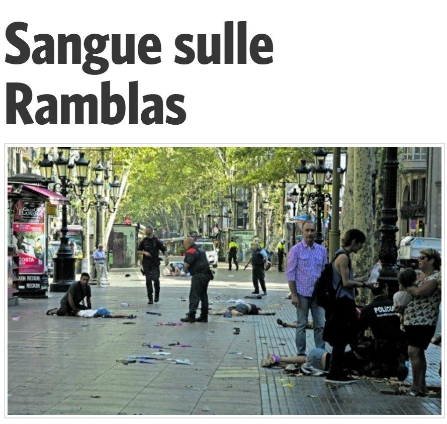 #Barcellona «Sangue sulle Ramblas» la #primapagina  @ilmanifesto https...