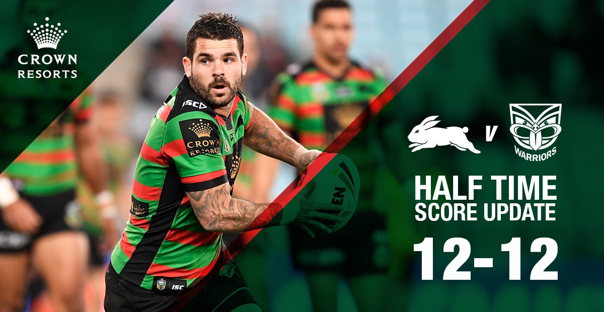 HALF TIME  All locked up. Can do better than this.  #GoRabbitohs #NRLS...