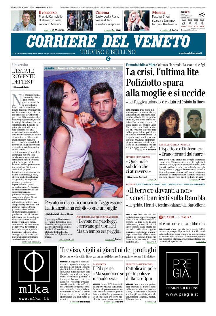 #buongiorno ecco la #primapagina del Corriere del Veneto di #oggi buon...