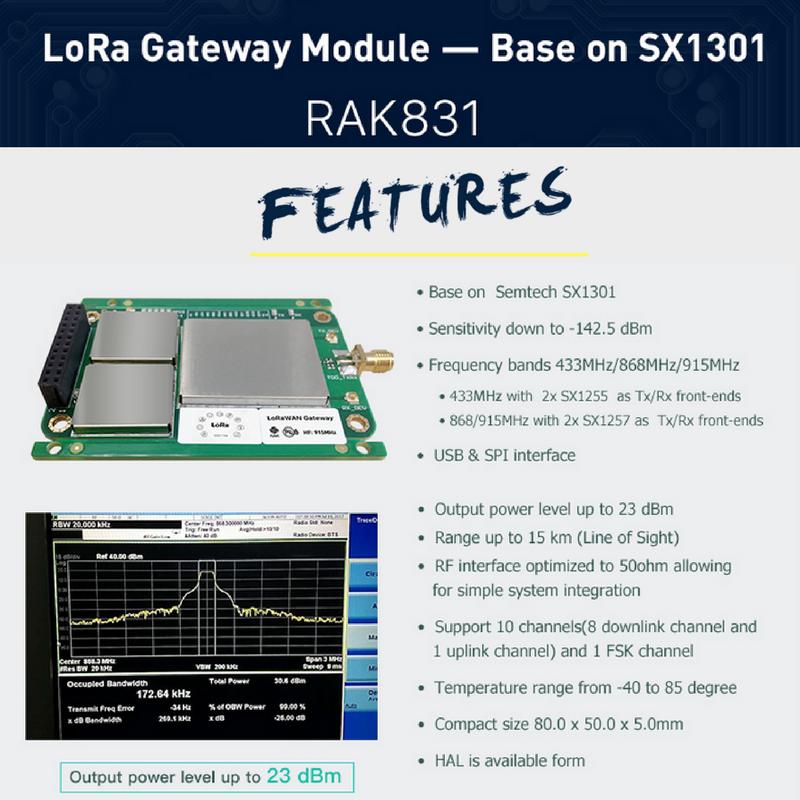 Special #features of RAK831 LoRa Gateway Module – base on #Semtech SX1301. #technology #wifi #iot #lora<br>http://pic.twitter.com/F6Nlt84akj