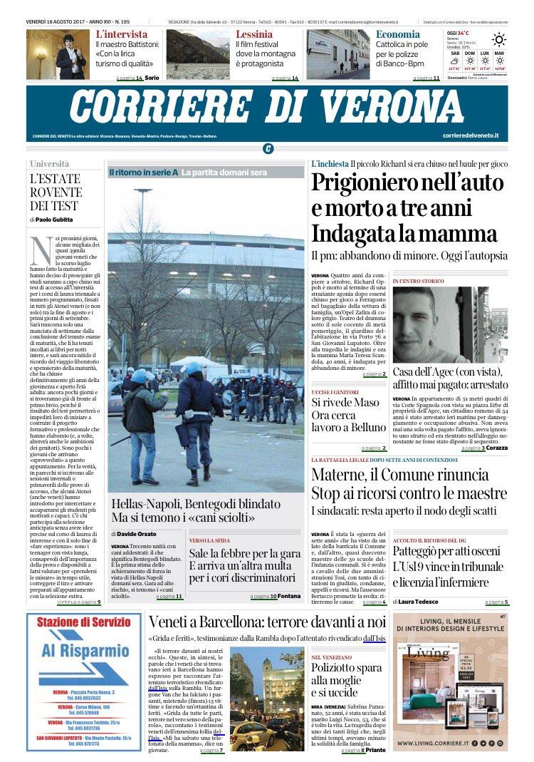#buongiorno ecco la #primapagina del Corriere di #Verona di #oggi buon...