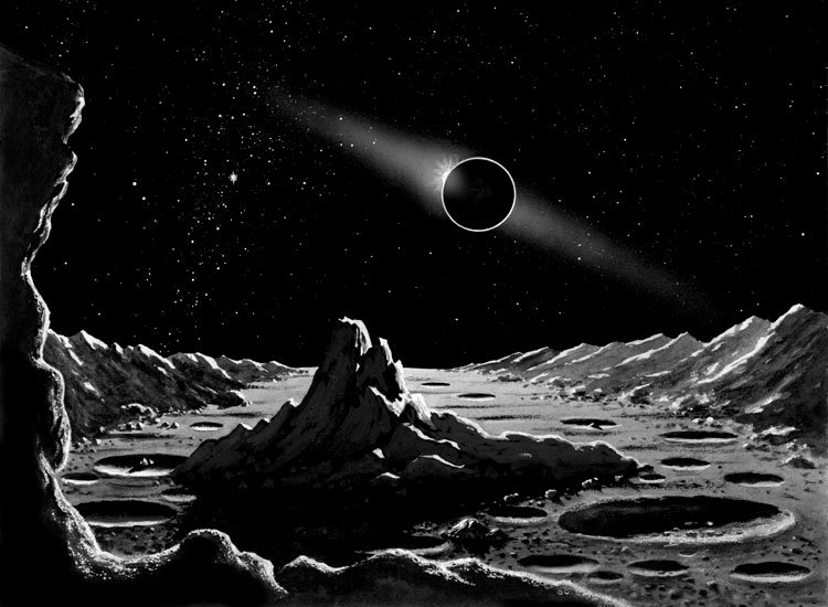 """A solar #eclipse  seen from the Moon, in David A. Hardy #space art from """"The Stars"""" by Colin A. Ronan, 1965. <br>http://pic.twitter.com/zPfJT0TeZJ"""
