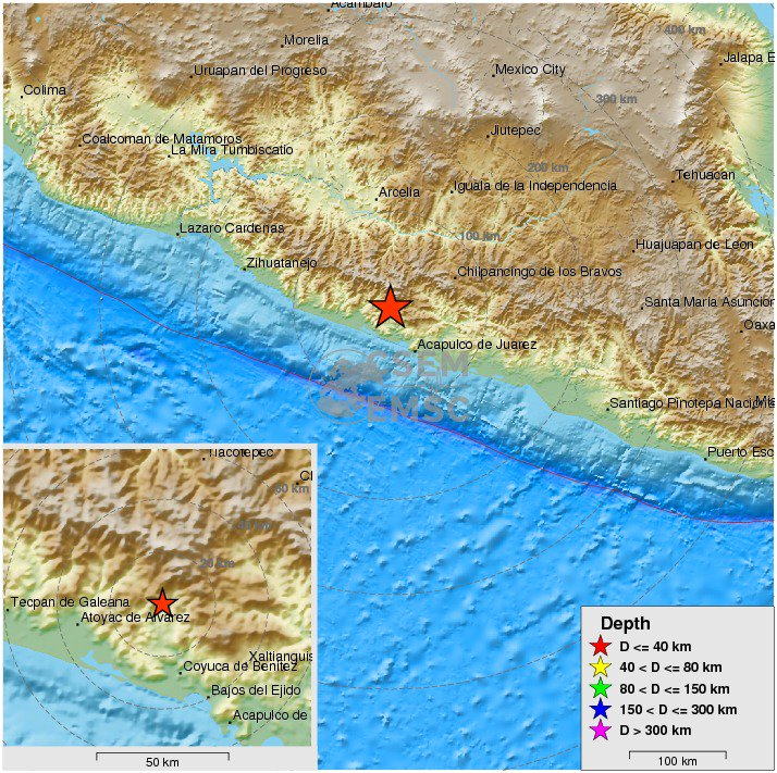 Felt #earthquake (#sismo) M4.8 strikes 52 km NW of Acapulco de Juárez...