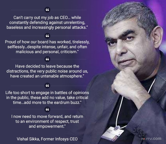 Unrelenting, personal attacks: #VishalSikka blog on quitting #Infosys...