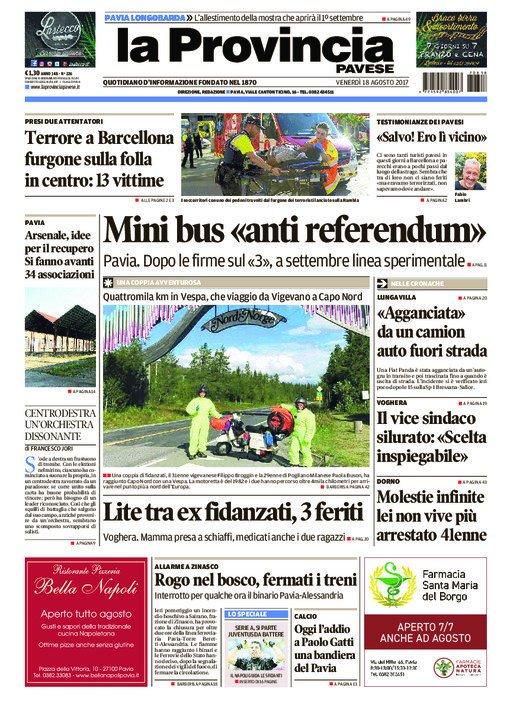 La #primapagina della provinciapavese oggi in #edicola #Pavia #Vigevan...