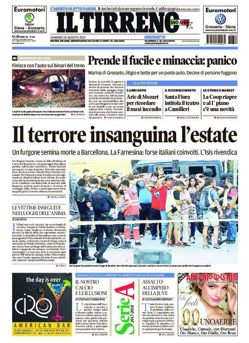 La #PrimaPagina de @iltirreno in edicola, edizione di #Grosseto  https...