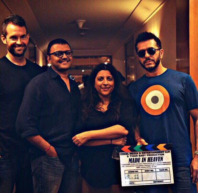 'Made in heaven' - The first day of shoot in Delhi with @FarrellJamesC, #ZoyaAkhtar and @vjsub. @AmazonVideoIN @excelmovies https://t.co/8g0ENGjdhY
