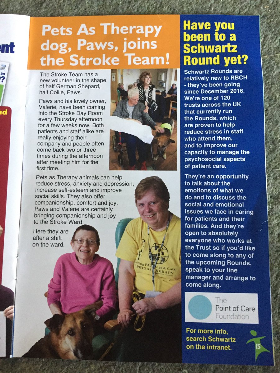 #fame at last. I made the @RBCH_NHS newsletter with my #charity works for @PetsAsTherapyUK Not bad for #rescuedog from @WaggyTailsResc<br>http://pic.twitter.com/8w7Ktr0MRP