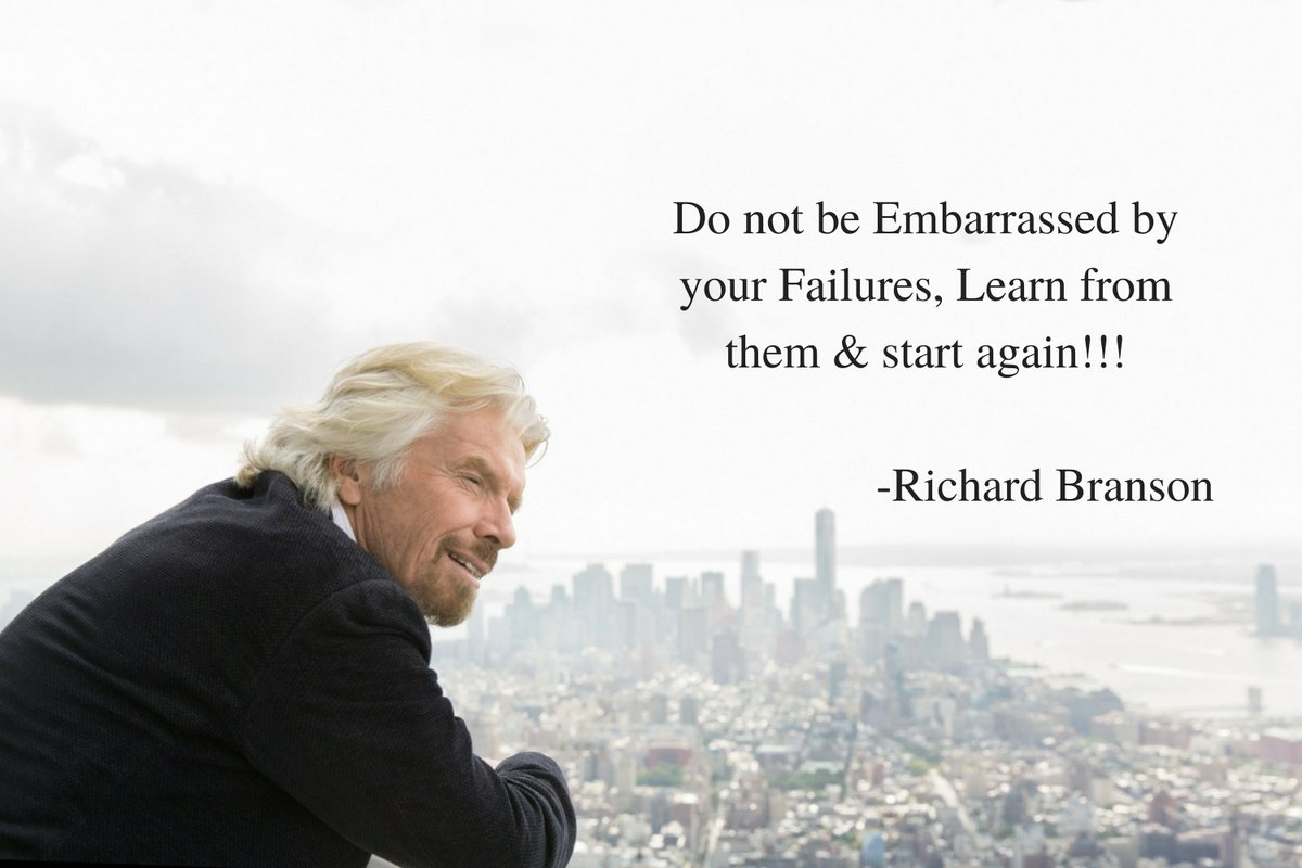 Do&#39;nt be embarrassed by your failure learn from them and start again-Richard Branson #inspirationalquotes #MotivationalQuotes  #entrepreneur<br>http://pic.twitter.com/i54DYyXfPI