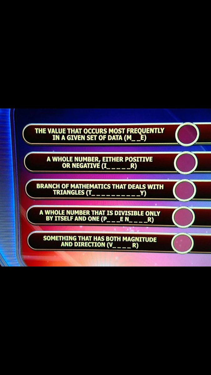 Pointless does maths! Can you do the whole board (well, the 5 shown)? https://t.co/2d0Goz0wtc