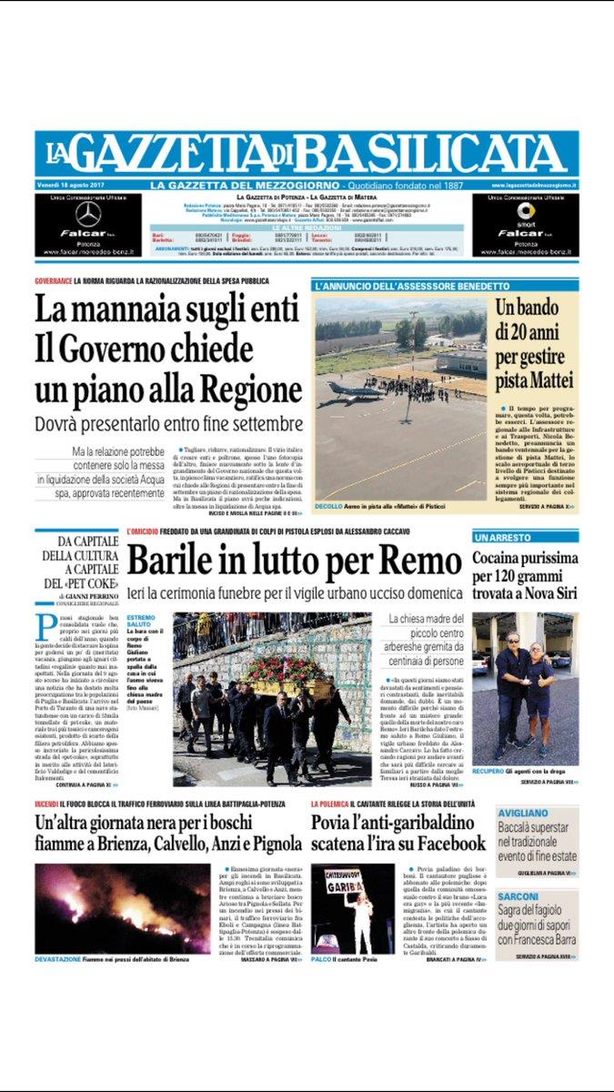 #primapagina #basilicata la Gazzetta di oggi https://t.co/KndNTQyoEY