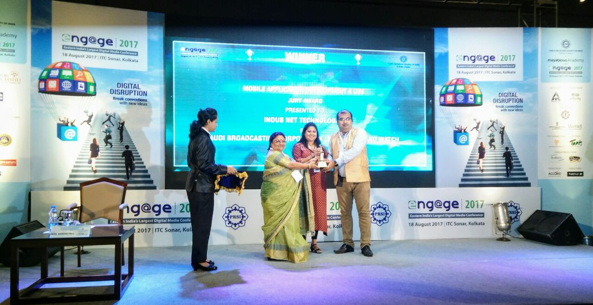 The proud moment for team @indusnettech PRSI award for Mobile Application development and use.#Engage2017 #Awards <br>http://pic.twitter.com/Y9a3h1o9Mz
