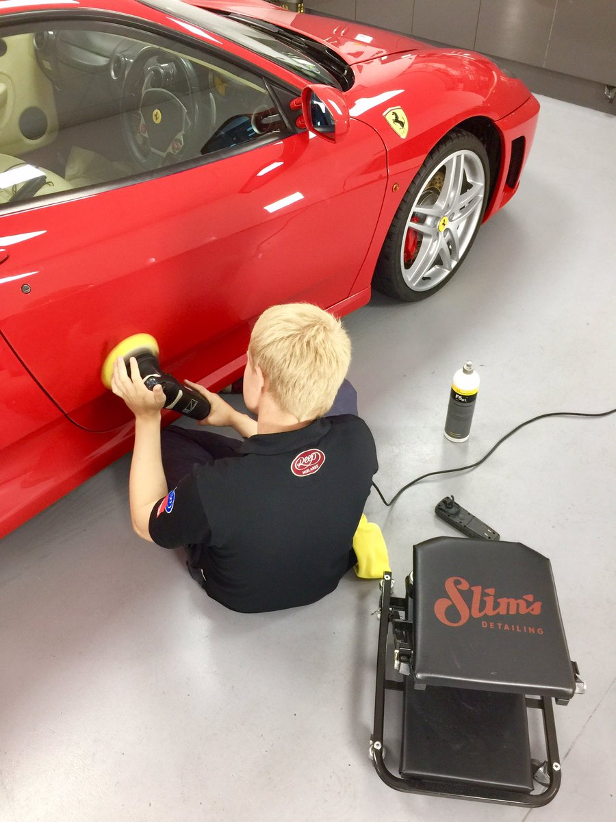 Birds eye view of a qualified professional at work on a stunning #Ferrari F430  #rupes #slims #kochchemie #detailing #valeting #carcleaning<br>http://pic.twitter.com/DVFQWfErA9