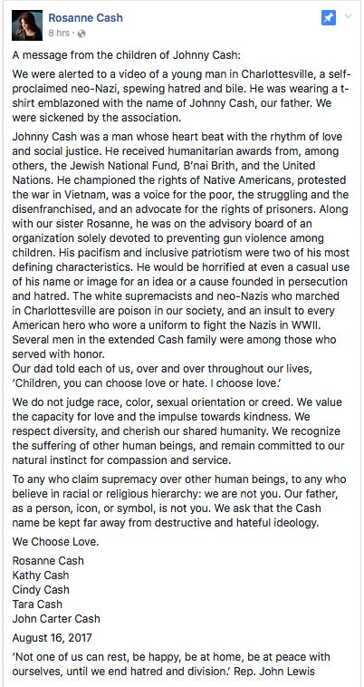 Excellent letter from the family of Johnny Cash... #Charlottesville #WeChooseLove<br>http://pic.twitter.com/Plwzp9PV3z