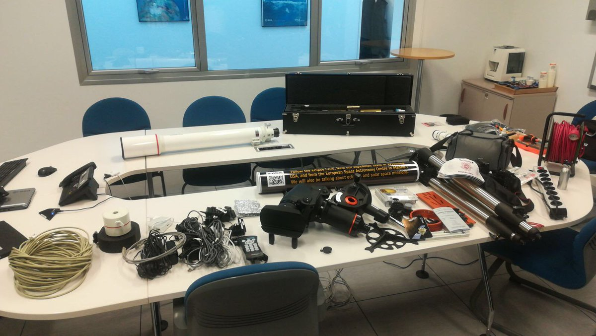 ESA #Eclipse2017  team packed up &amp; ready to go! More about our #eclipse  activities, from #Earth &amp; from #space, here:  http:// ow.ly/gHeE30euZGF  &nbsp;  <br>http://pic.twitter.com/NTQ80cOfVQ