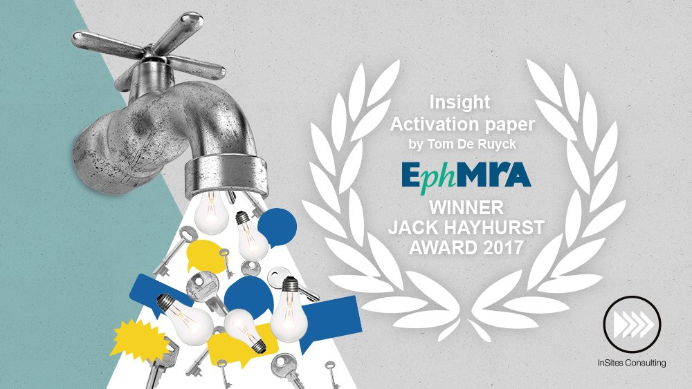 Just in: @tomderuyck just won the renowned #JHAward for his #InsightActivation paper at this year's @EphMRA conference #mrx #newmr #studio<br>http://pic.twitter.com/rV3XVl883r