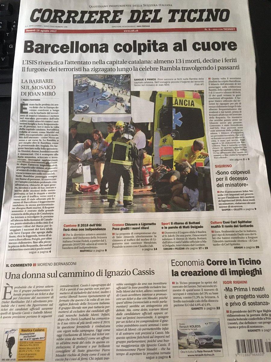 Lo #shock di #Barcellona, la #primapagina del @CdT_Online https://t.co...