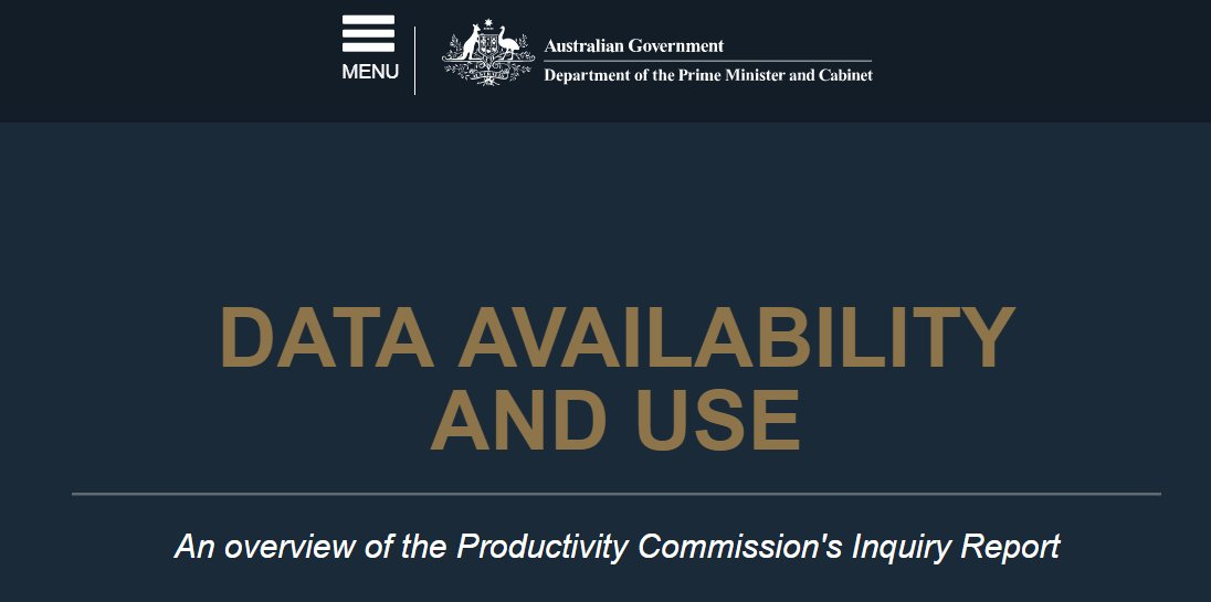 #MustRead for national #DataRevolution roadmappers - Outcomes of #Australia Inquiry into Data Availability and Use  http:// dataavailability.pmc.gov.au / &nbsp;  <br>http://pic.twitter.com/y8WmLLo6zx