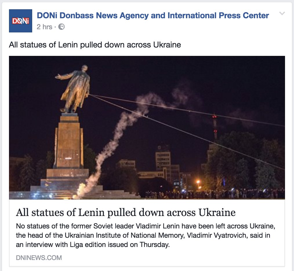 Every statue of Lenin has now been pulled down across #Ukraine. Same garbage ideology being applied in #US. #Charlottesville <br>http://pic.twitter.com/R4CuTYshn2