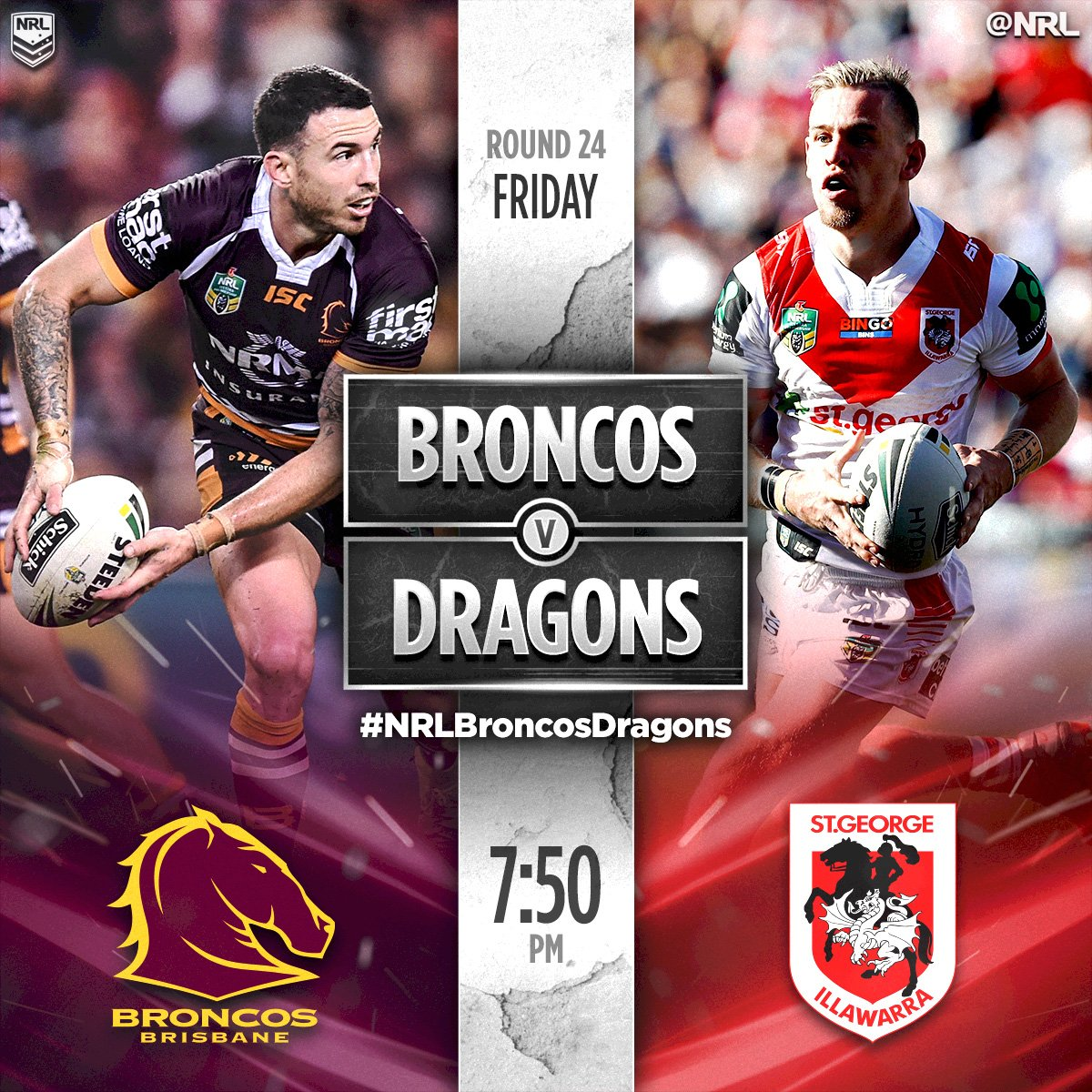 BIG GAME  #NRLBroncosDragons is next from @suncorpstadium!  #NRL https...