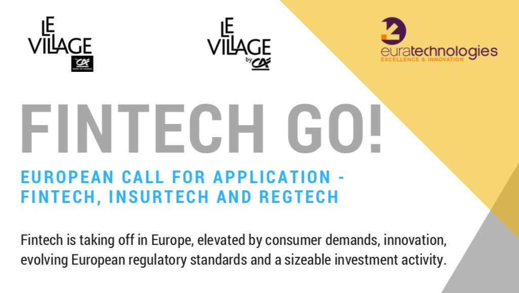 Are U a project bearer in #fintech, insurtech or regtech? Interested in a multisite acceleration hub in Paris &amp; #Lille? Apply bef Sept 5th <br>http://pic.twitter.com/42rchMJUkj