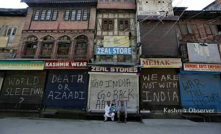 Some of the #FreedomWriters graffiti in #Kashmir.   May the movement survive radicalization attempts &amp; achieve #freedom for #Kashmiris.<br>http://pic.twitter.com/xELDhign0U