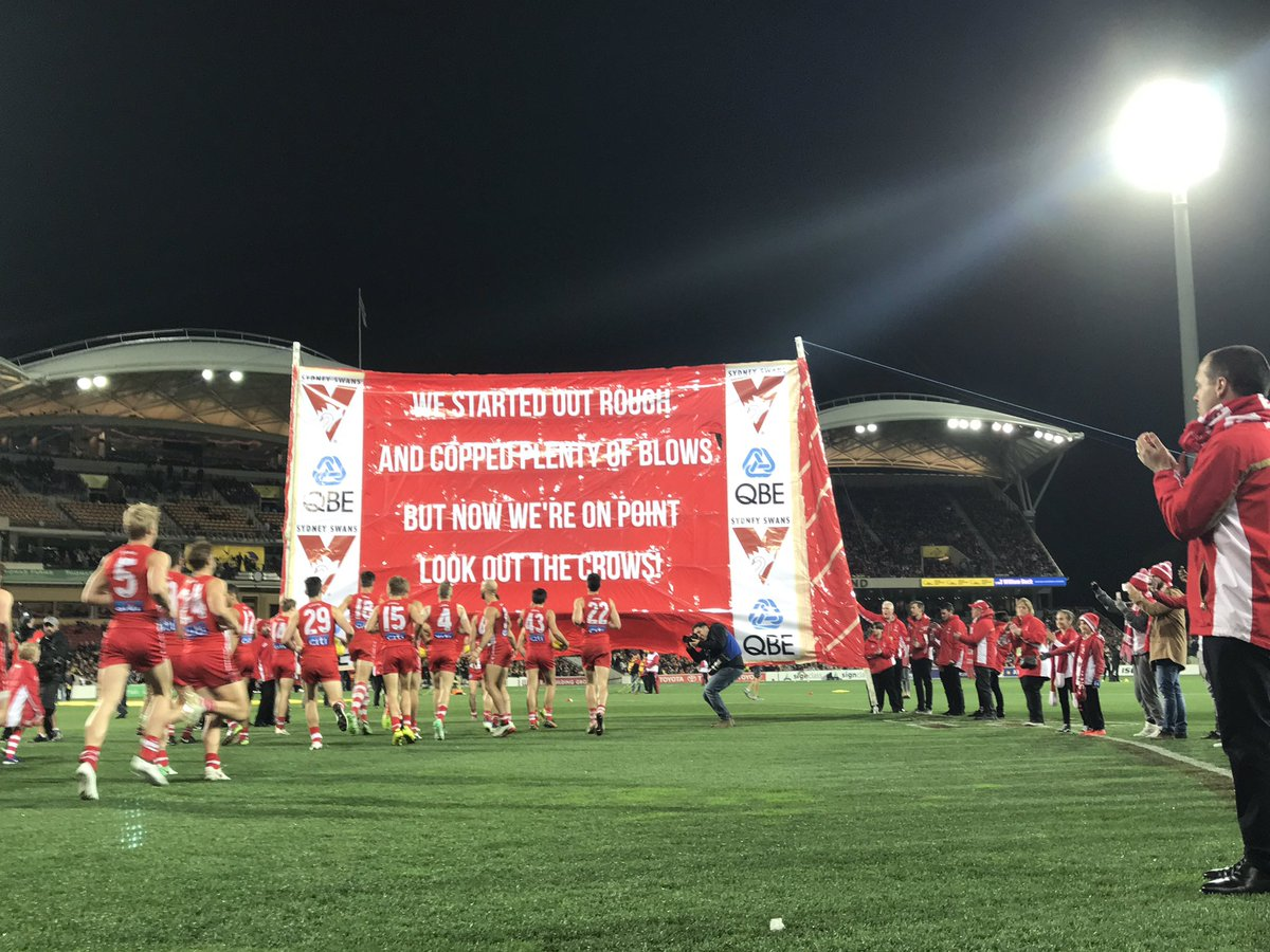 Banner on point 👌 Go get 'em boys! #goswans #AFLCrowsSwans https://t.c...