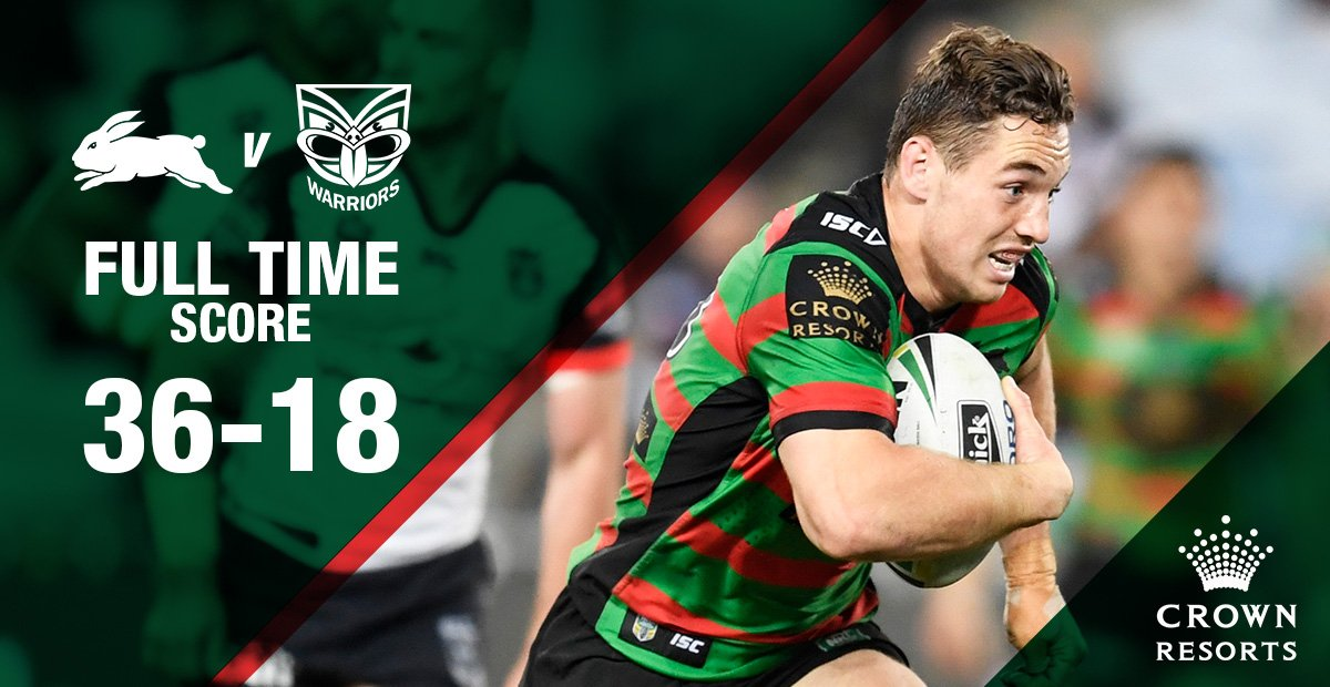FULL TIME  That second half. 👌  #GoRabbitohs #NRLSouthsWarriors https:...