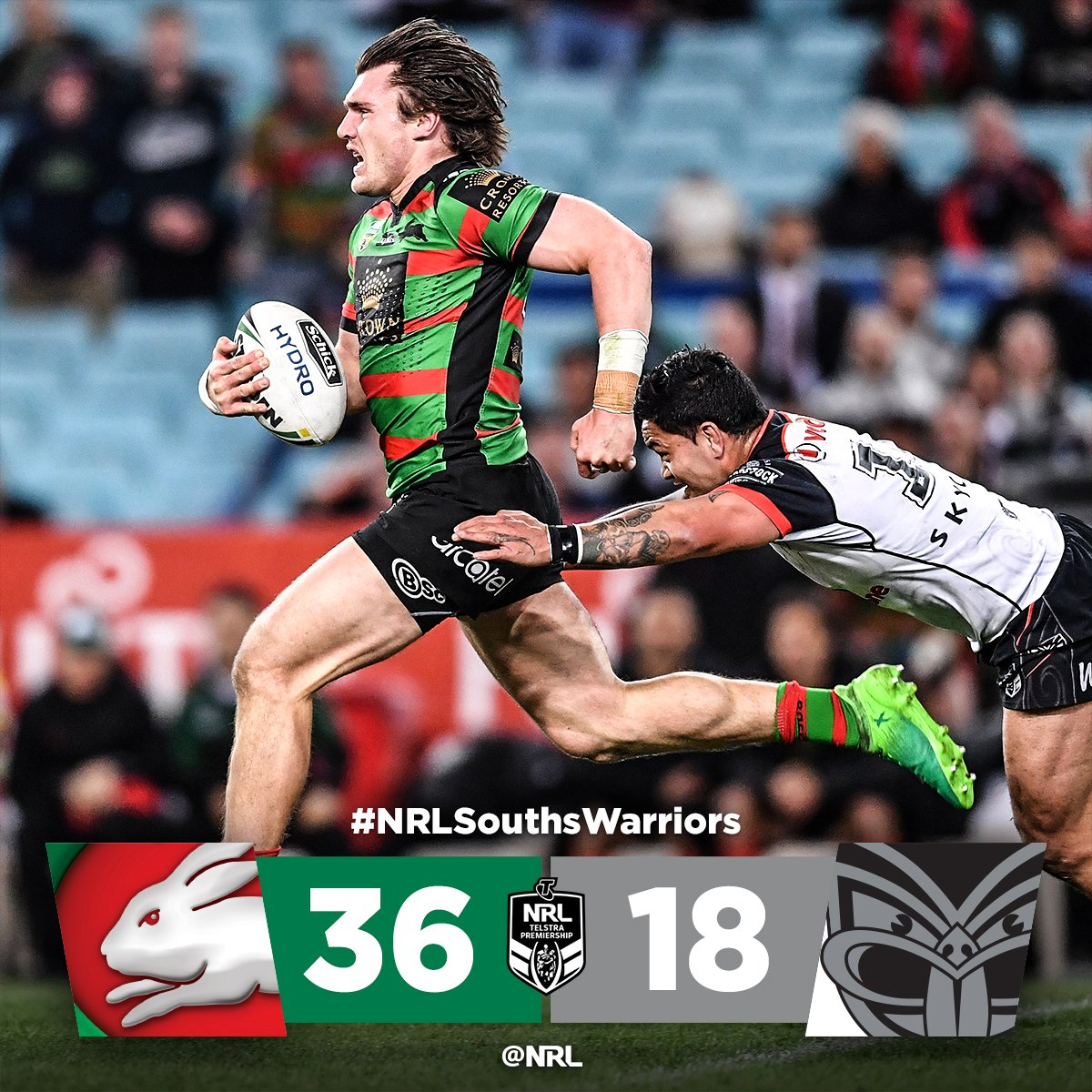 South Sydney surge in the second half to defeat Warriors!  #NRLSouthsW...