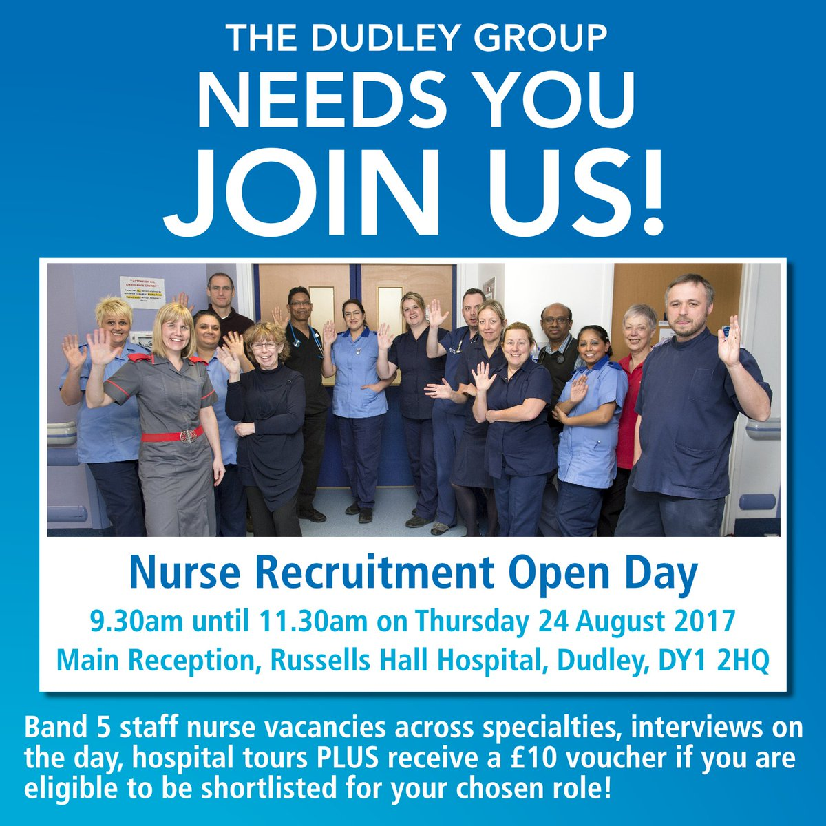 Nurse Recruitment Open Day - Thurs 24th Aug @ Russells Hall Hospital, Dudley. Band 5 staff nurse vacancies across all specialties! #joinus <br>http://pic.twitter.com/E8yvE6WozW