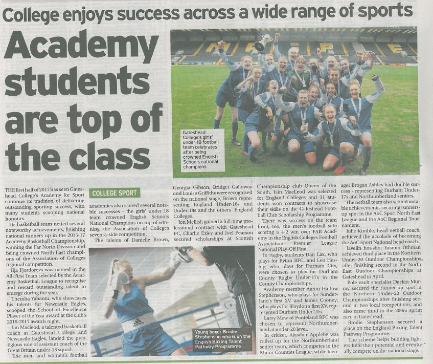 Great promotion + #PR by @JezDavison for our &#39;outstanding&#39; #FE client @gatesheadcoll  College success across wide range of sports @FENews<br>http://pic.twitter.com/Ozij6lxabK